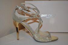 $850+ Jimmy Choo LANG Ankle Strap Sandal High Heel Shoe GOLD Glitter 10 - 40