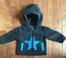 Columbia 3-6 Months | Baby Boy Zipper Sweater With Hood | Black & Blue | Cute��