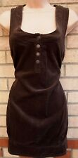 RIVER ISLAND BROWN CORDUROY HALF BUTTONED BAGGY SMOCK TUBE TEA DRESS 6 XS