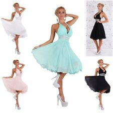 Neckholder Abendkleid Strass Abiballkleid Cocktail Chiffon Petticoat Kleid 3095