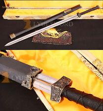 CLASSICAL CHINESE SWORD HAN JIAN DAMASCUS SHARP EBONY WOOD SAYA BRASS FITTING