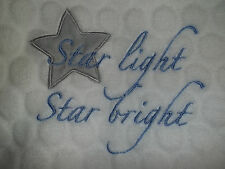 STAR LIGHT STAR BRIGHT Baby Blanket Bedtime Originals White Crib Blanket GUC
