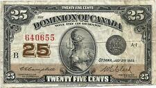 1923 Dominion of Canada 25 Cents Bank Note Shinplaster Cambell-Clark B inset
