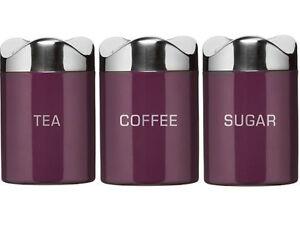 HOUSTON PURPLE ENAMEL TEA COFFEE SUGAR STORAGE CANISTERS POTS CANISTER SET