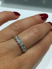 18CT WHITE GOLD 0.75CT GSI ROUND 7 DIAMONDS HALF ETERNITY LADY RING GOY58