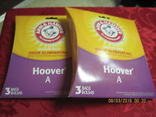 2 Packs 3 Count Ea Arm & Hammer Vacuum Bags Odor Eliminating Bags Hoover A