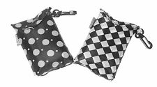 Black & White Eco Fold Up Shopping Bag For Life In Pouch Clip - ONE AT RANDOM