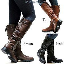 New Women FSm16 Brown Tan Black Riding Knee High Boots sz 5.5 to 10