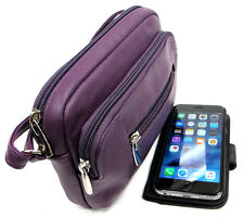 Genuine Leather Small Size Cross Body Every Day Purse 3 Zipper - Black, Purple