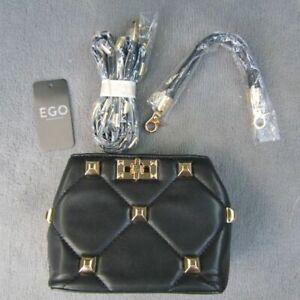 EGO Handbag/Shoulder bag, Black with Gold Coloured Studs