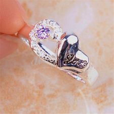 "925 Sterling Silver ""Love"" engrave Purple Crystal 8mm Wide Ring Size 8 H1117"