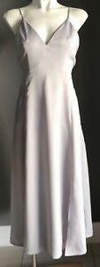 Designer PINK STITCH 'Saxony' Silver Slit Front Midi Dress Size 8
