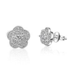 Solid 925 Sterling Silver Zircon Plum Blossom Ear Stud Earrings FREE P&P
