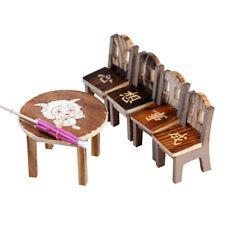 Miniature Wooden Desk+Chair+Umbrella Fairy Garden Ornament Dollhouse Decor TN