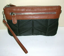 Mighty Purse Charge PHONE On The Go Quilted Black w/ Brown Leather Wristlet