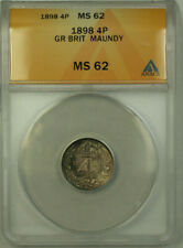 1898 Great Britain Silver 4 Pence Coin Queen Victoria ANACS MS 62 Maundy
