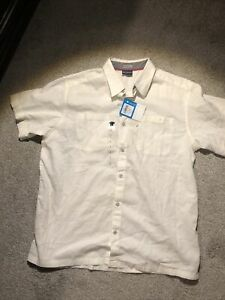 Columbia Harborside Linen Camp Shirt Size Large White New With Tags Mens