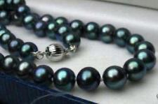 Natürliche 8-9 mm schwarz Tahiti Perlenkette 46 cm