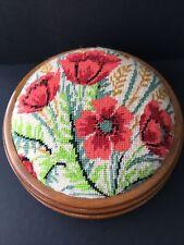 "Vintage Low Round Footstool Poppy Tapestry Design 28cm 11"" Diameter 12cm Height"