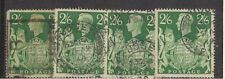 Great Britain 249A -  King George VI 2 Shillings & 6 Penny Used x 4   #02 GB249A
