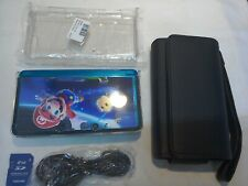 NINTENDO 3DS BLUE WITH MARIO GALAXY DECALS AND ACCESSORIES