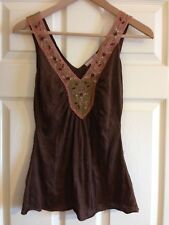Soft brown and pink beaded summer top