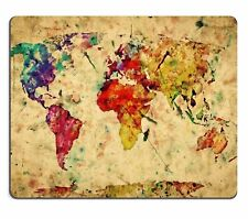 MOUSE MAT 97 Mousepads Vintage world map Colorful paint watercolor retro style