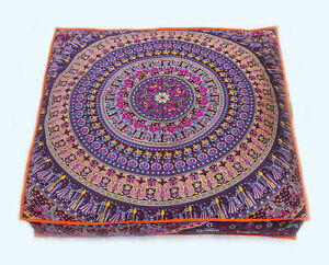 "Indian Pink Elephant Mandala Cotton Cushion Cover 35"" Floor Pillow Case Decor"