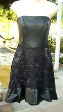 NWT Bebe Black Strapless Lace and Leather Flounce Ruffle Hem Dress 00 NEW