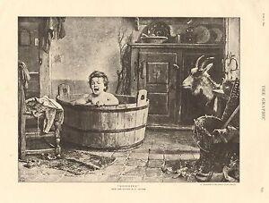 "1890 ANTIQUE PRINT-ART-""DESERTED"" BY B VAUTIER, BABY IN BATH"