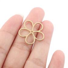20Pcs Raw Brass Geometry Flower Charms Pendants Jewelry Earring Findings 23*23mm