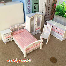 5Pcs Dollhouse Miniature Kids Children Bedroom Set Furniture 1:12 Scale Model