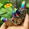 Natural Rainbow Aura Titanium Quartz Crystal Cluster Specimen Healing Stone NEW