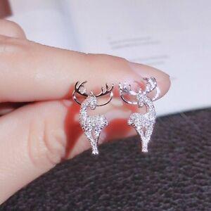 Fashion 925 Silver Zircon Christmas Xmas Elk Earrings Stud Women Party Jewelry
