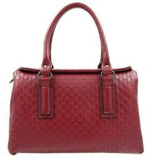 Synthetic Leather Bag Sling Top Handle Shoulder Bag (Dark Red)