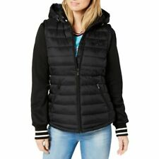 TOMMY HILFIGER NEW Womens Black Hooded Striped-cuff...