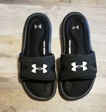Boy's Under Armour Sz 6 Youth 6Y Black/White 4D Foam Slides Sandals Shoes