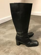 Via Spiga Womens Mid Calf Black Leather Heels Boots Square Toe Shoes - SZ 6M 6