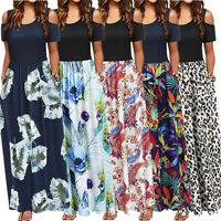 Women Summer Cold Shoulder Floral Print Sundress Maxi Long Dress Pocket Dresses