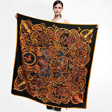 "Black&Gold Silk Head Scarf Women's Fashion Print Square Big Shawl Scarf 51"" NEW"
