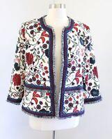 Ann Taylor Loft Floral Print Fringe Open Front Blazer Jacket Size 14 Blue Red