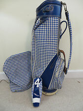 Women's Vintage Burton Golf Bag Blue Houndstooth & Cover Excellent Condition