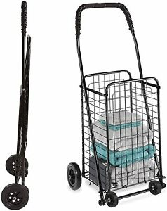 Grocery Utility Shopping Cart 90lbs Compact and Folding Portable with Wheels