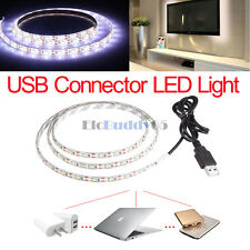 1m Cool White 60LED Strip Light TV PC Background Decorate W/USB Cable Waterproof