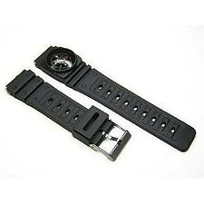 Speidel 18mm Black Rubber Resin Compass Watch Band Strap