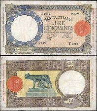 50 Lire Lupa 17/5/1943 Azzolini - Urbini