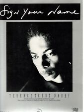"Terence Trent D'Arby ""Sign Your Name"" Sheet Music-1987-Piano/Vocal/Ch ords-New!"