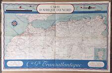 Affiche Originale Ancienne Carte Afrique du Nord Compagnie Transatlantique 1954