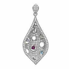 Gorgeous Sterling Silver Color Stone Drop Pendant Necklace Brand New