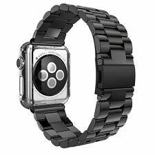 New Stainless Steel Wrist Bracelet Clasp for Watch iWatch Band 38mm(Black)